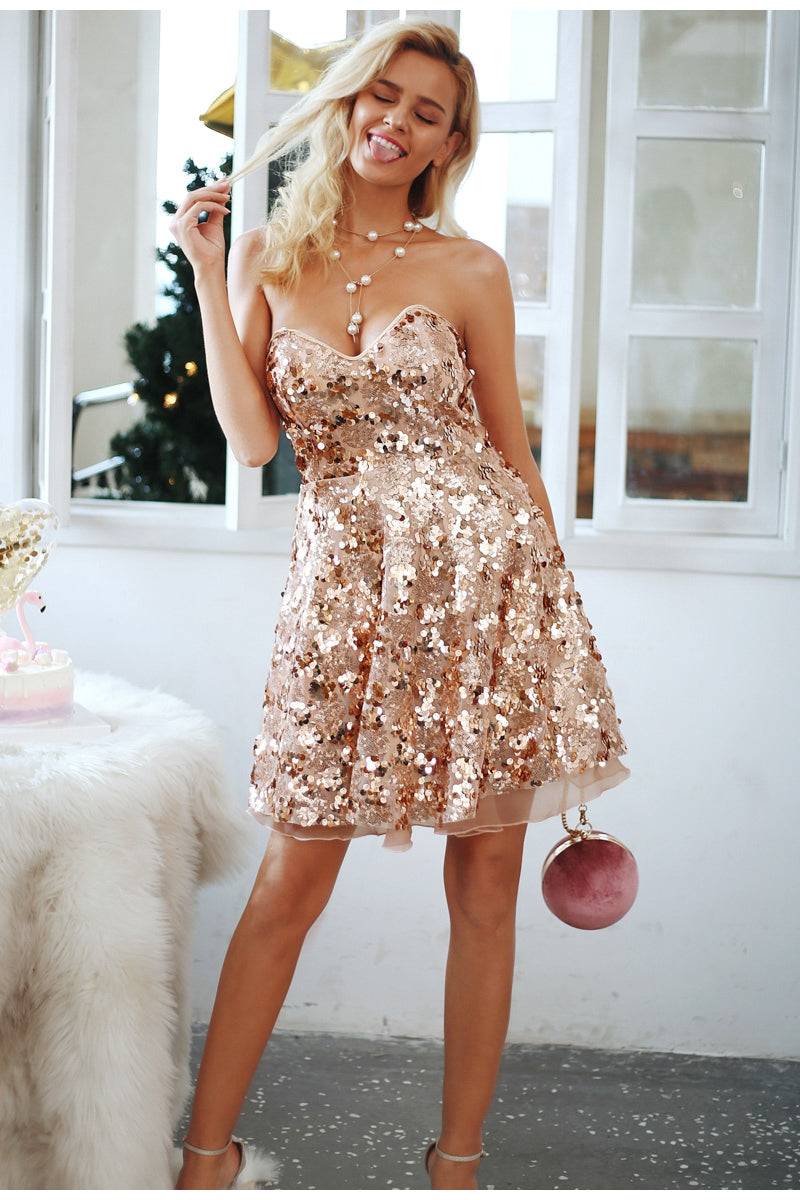 Shiny Sequin Detail Punk Girl Evening Party Dress
