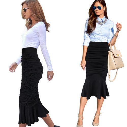 Melina Fishtail Pencil Midi Skirt - woven-trends