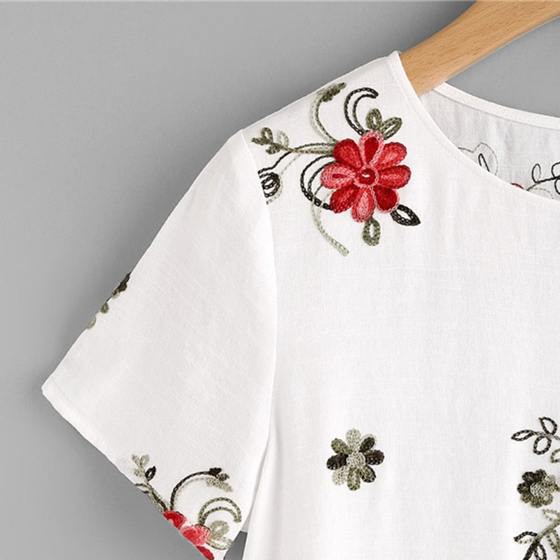 Emily Dotted Floral Embroidery Blouse Woven Trends