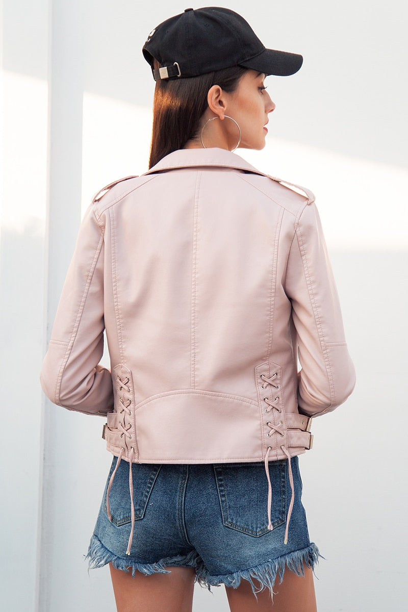 Anna Lace Up PU Leather Biker Jacket Woven Trends