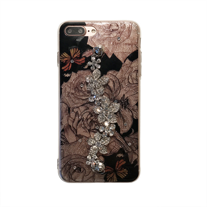 Floral Rose Print Glitter Phone Case - Bracelet Detail Back Phone Case Accessories - Woven Trends Fashion Collection