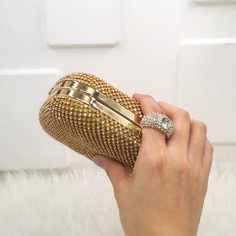 Diamante Embedded Crystal Finger Through Day Clutch Bag Woven Trends