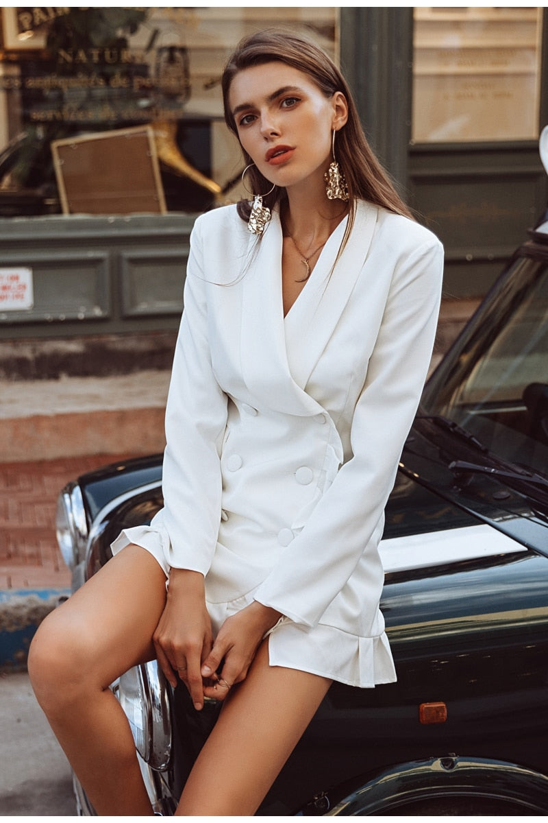 Double Breasted Vintage Style Casual Blazer Dress In White Woven Trends