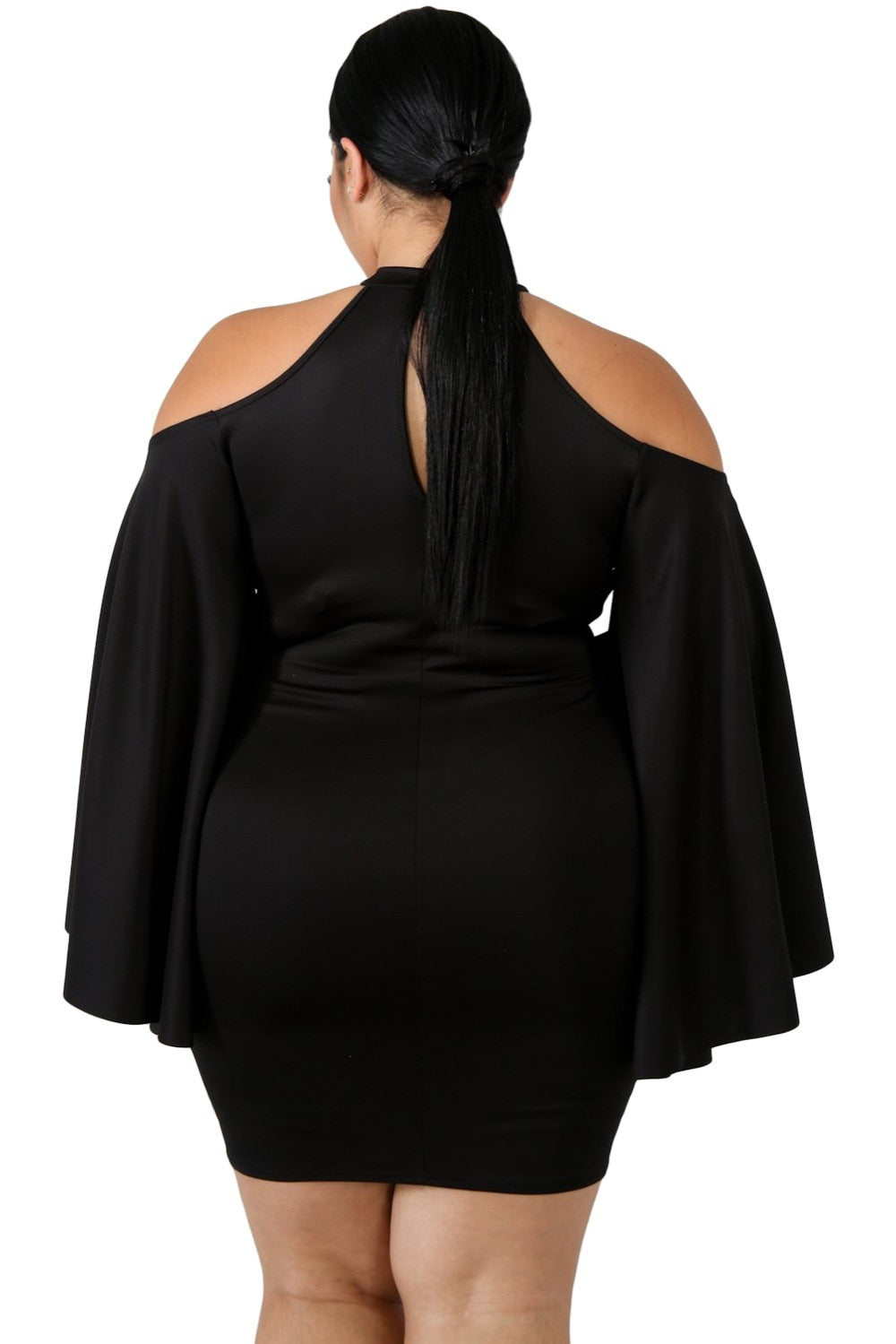 Cold Shoulder Sweetneck Plus Size Bodycon Party Mini Dress Woven Trends