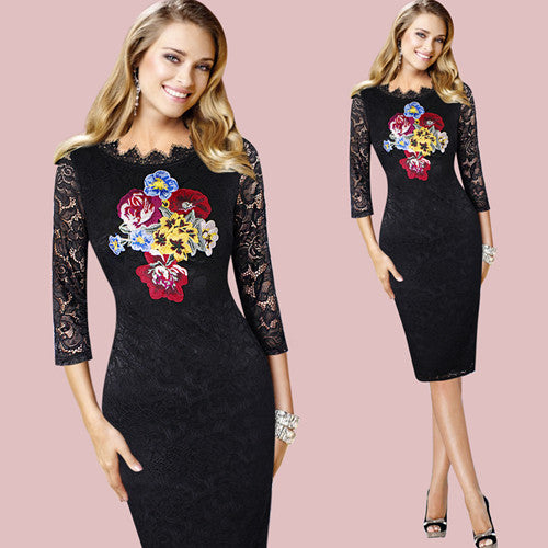 Helena Embroidery Pencil Dress Woven Trends