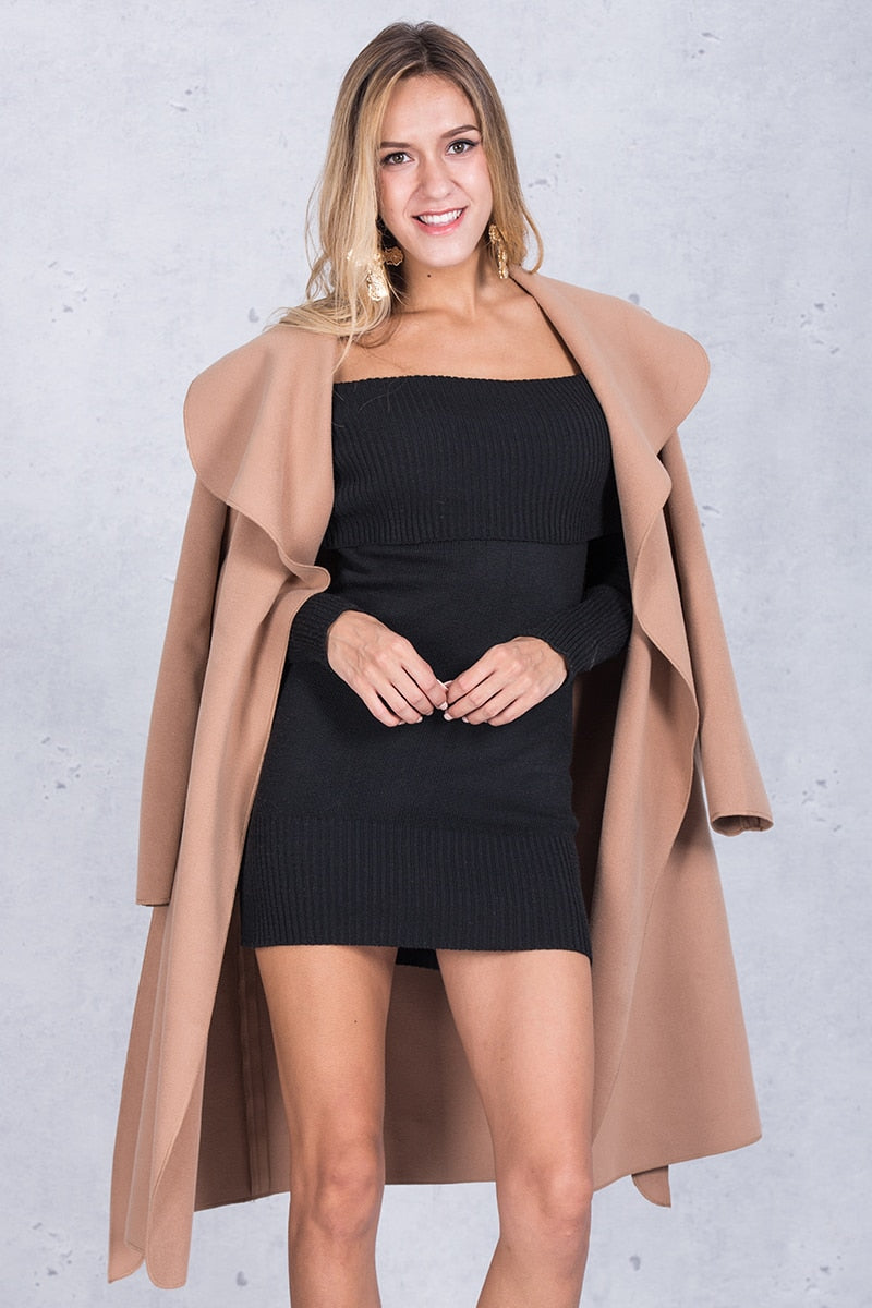 Long Turn Down Collar Trench Coat