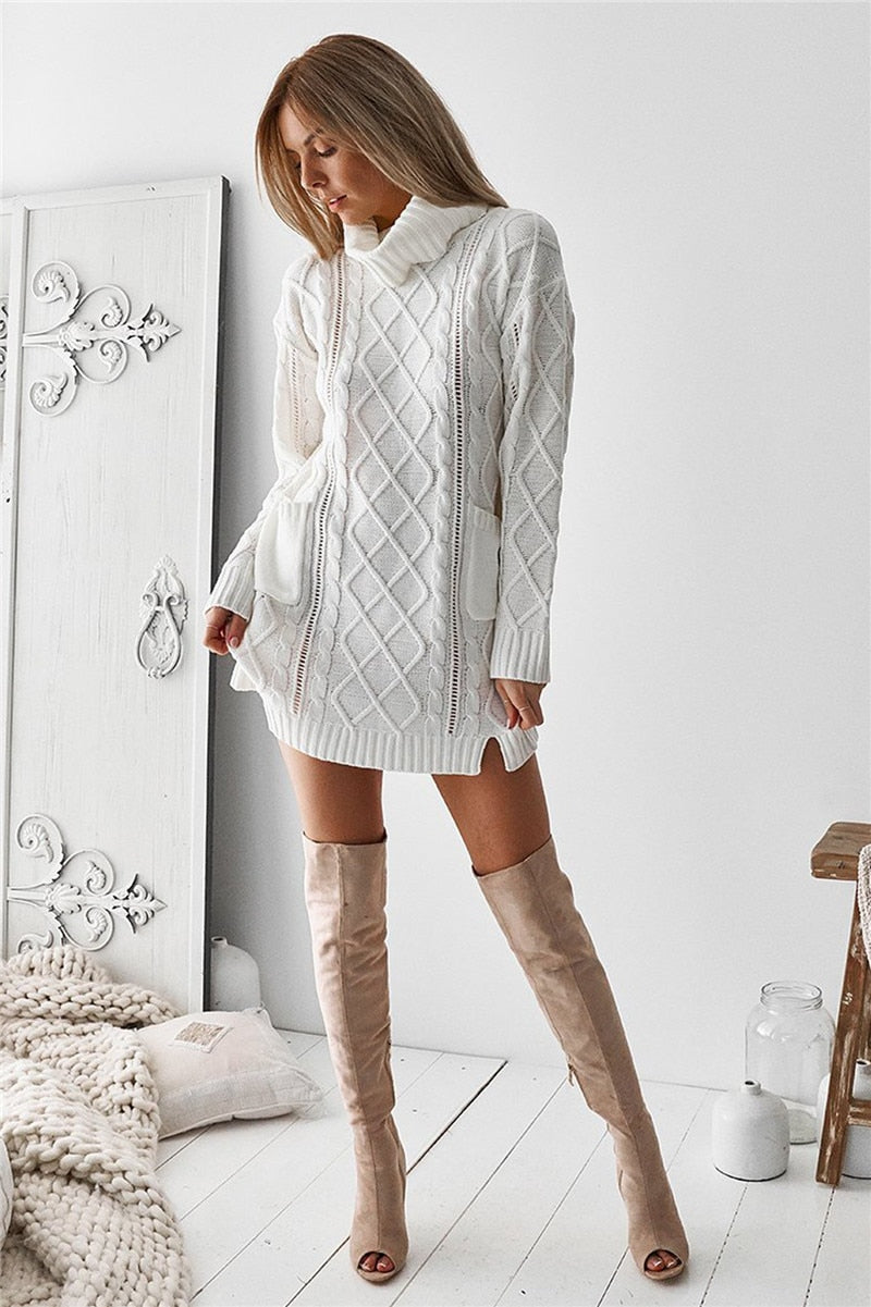 Demi Turtleneck Sweater Dress Woven Trends
