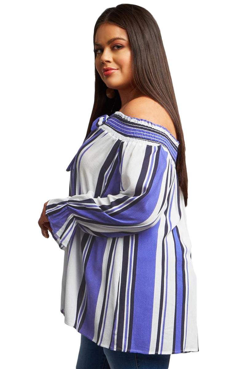 Striped Off Shoulder Plus Size Casual Blouse