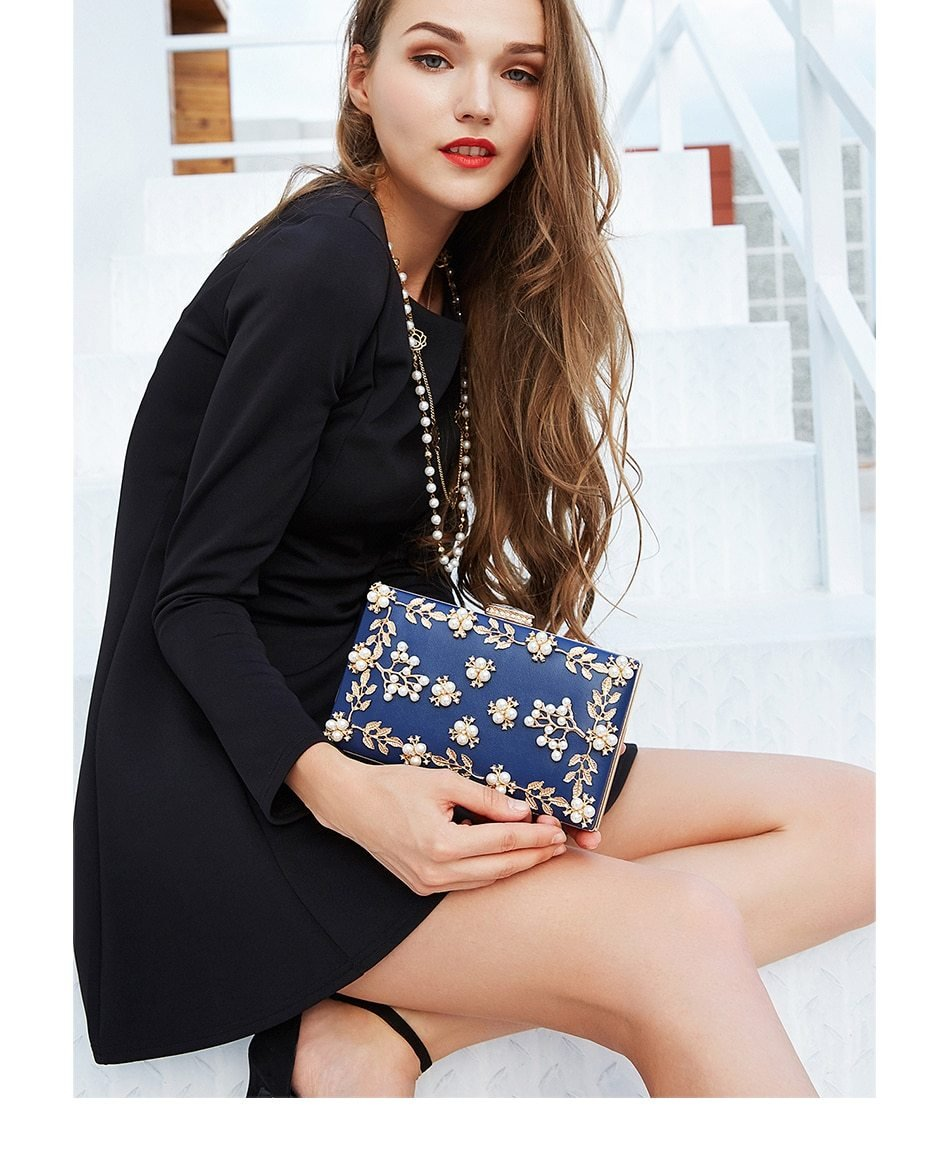 Selena Flower Embroidery Evening Clutch Bag - Woven Trends