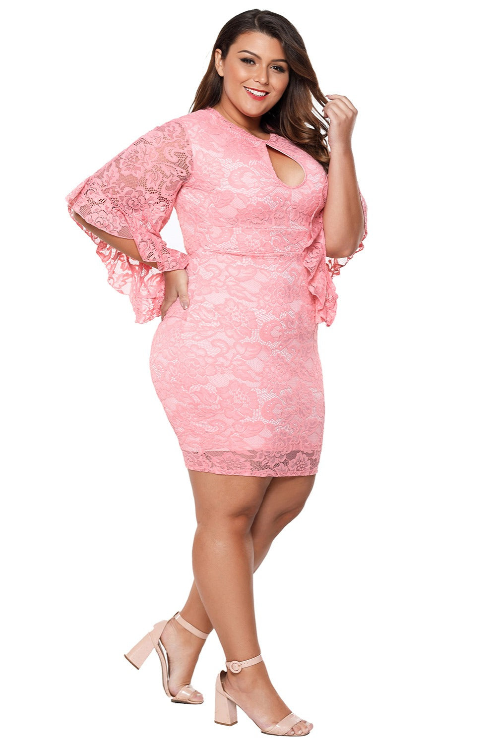 Lace Overlay Plus Size Mini Party Look Dress Woven Trends