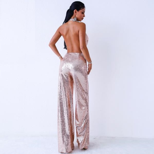 Alena Off Shoulder Sequin Jumpsuit Woven Trends