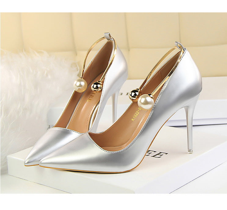 Pearl Trim Metal Buckle Look Show Stiletto Pump Shoes - woven-trends