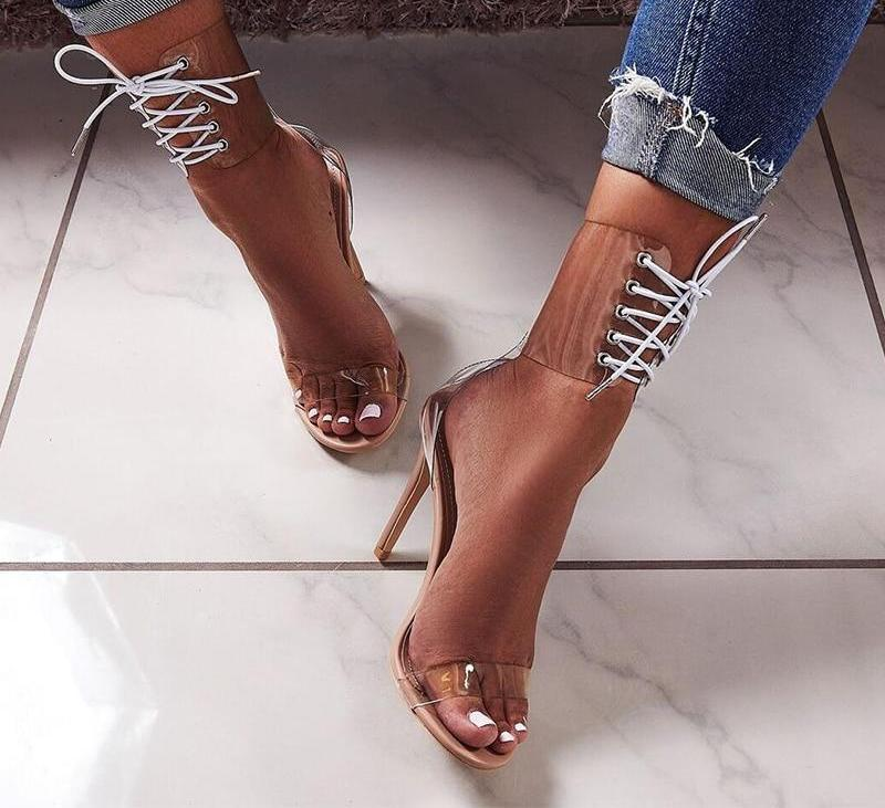 Anita Transparent PVC High Heel Sandals Woven Trends