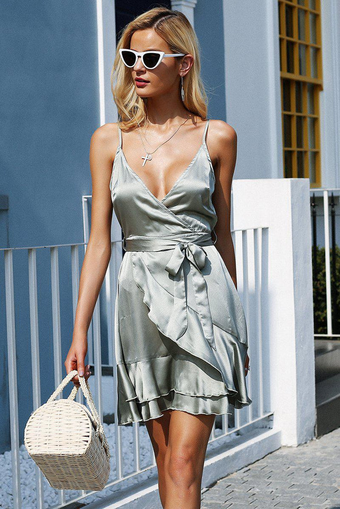 Backless Strap Satin Short Dress - V Neck Ruffle Trim Dress Dresses - Woven Trends Fashion Collection