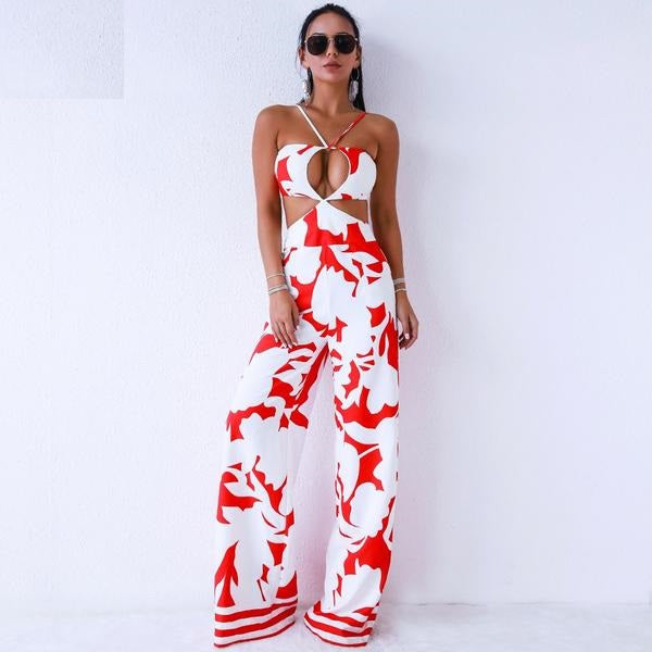 Wisconsin  Sexy Backless Print Jumpsuit - Woven Trends