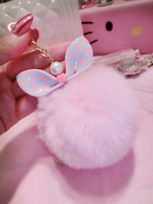 Bunny Ear Fluffy Furball Luxury Phone Case - Fluffy Ball Bowknot Phone Case Woven Trends