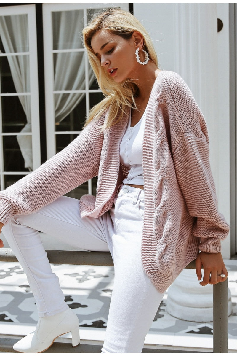 Acrylic Twist Knitted Sweater Cardigan Woven Trends