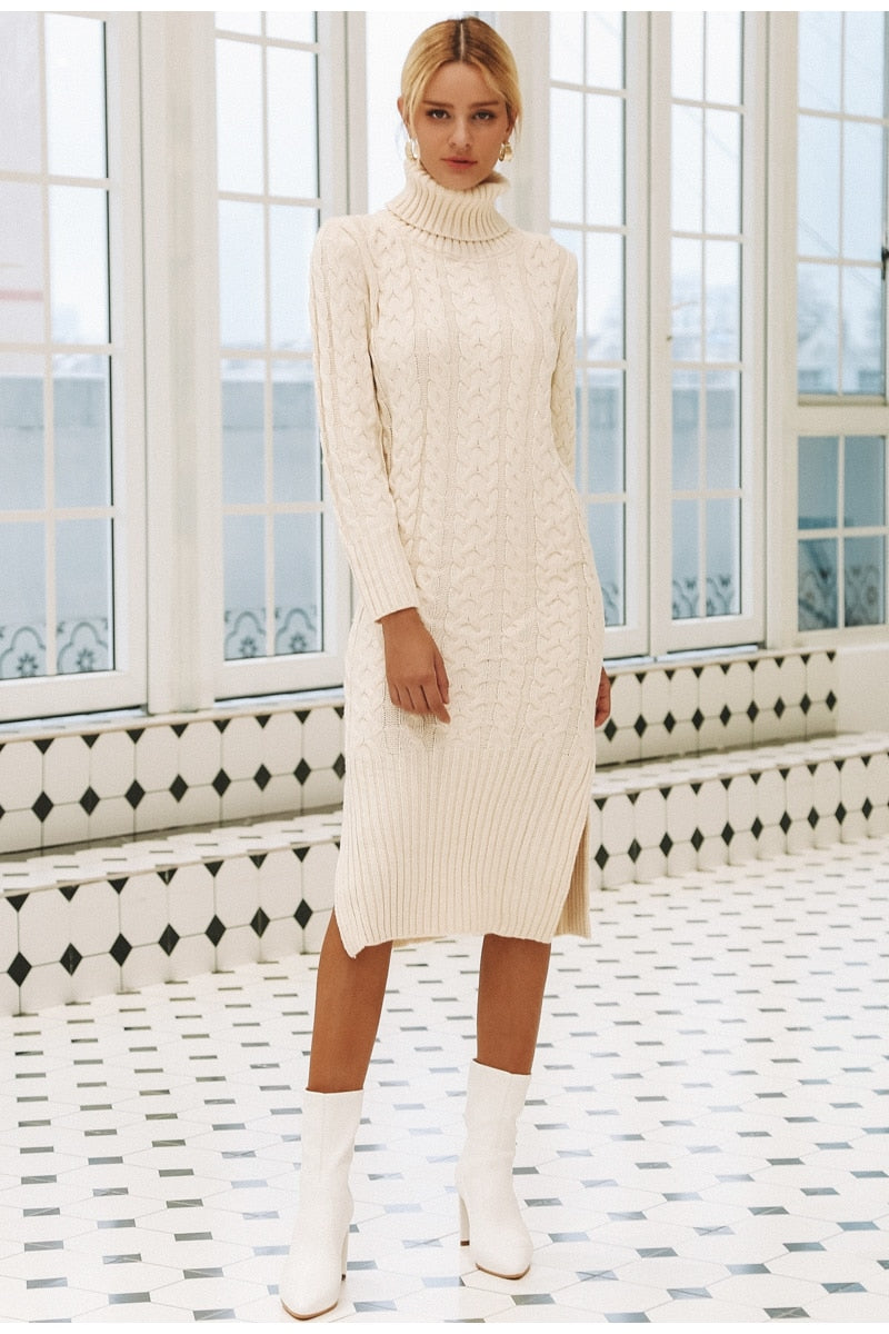 Turtleneck Cozy Wear Mid-Calf Sweater Dress