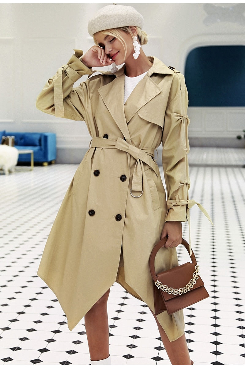 Irregular Trim Khaki Long Trench Coat - woven-trends