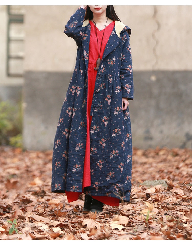 Lara Hooded Long Trench Floral Print Cape Windbreaker - woven-trends