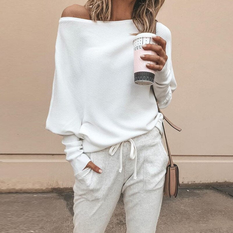 Desiree Off Shoulder Loose Knitted Sweatshirt Top - Woven Trends