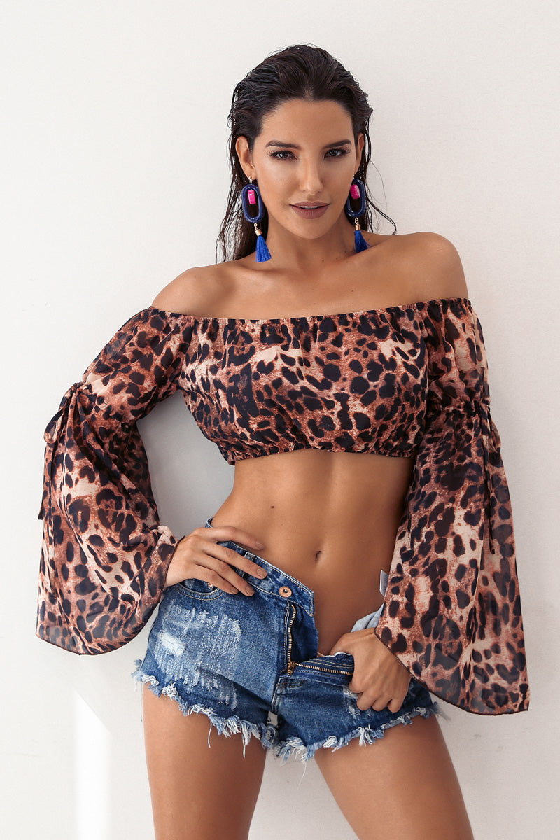 Off Shoulder Flare Sleeve Crop Top In Leopard Print