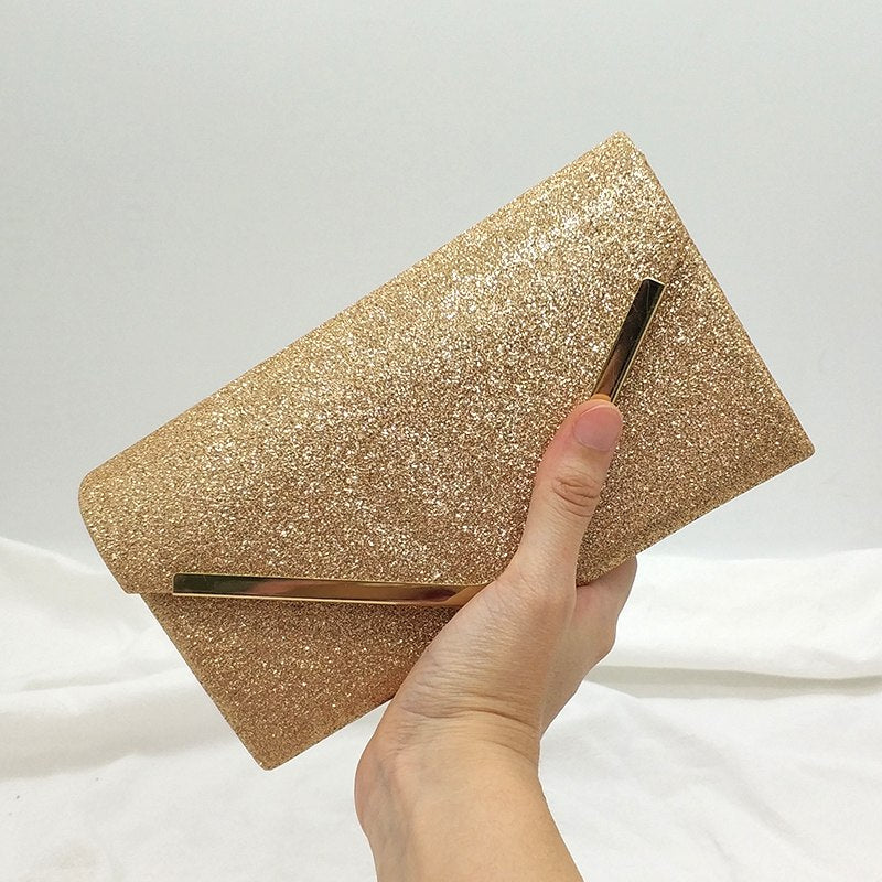 Solid Glitter Effect Evening Clutch Bag