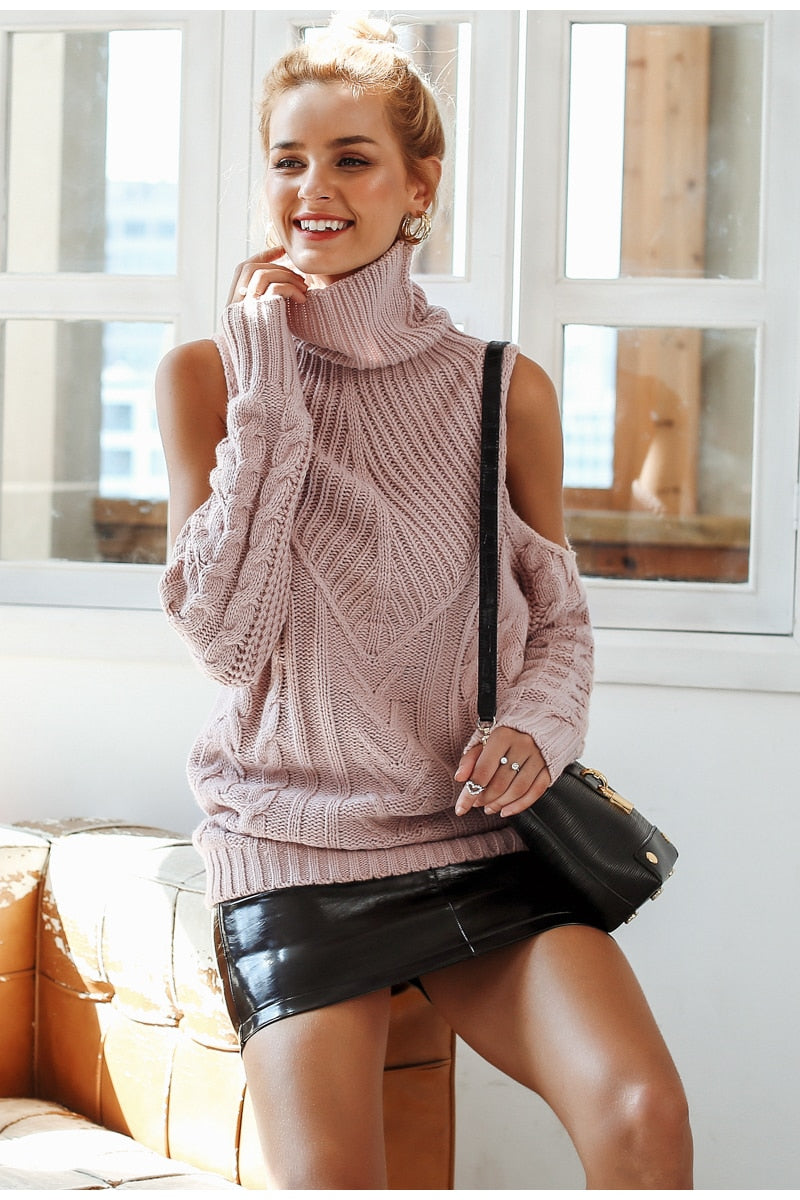 Cold Sleeve Details Vintage Pullover Sweater - woven-trends