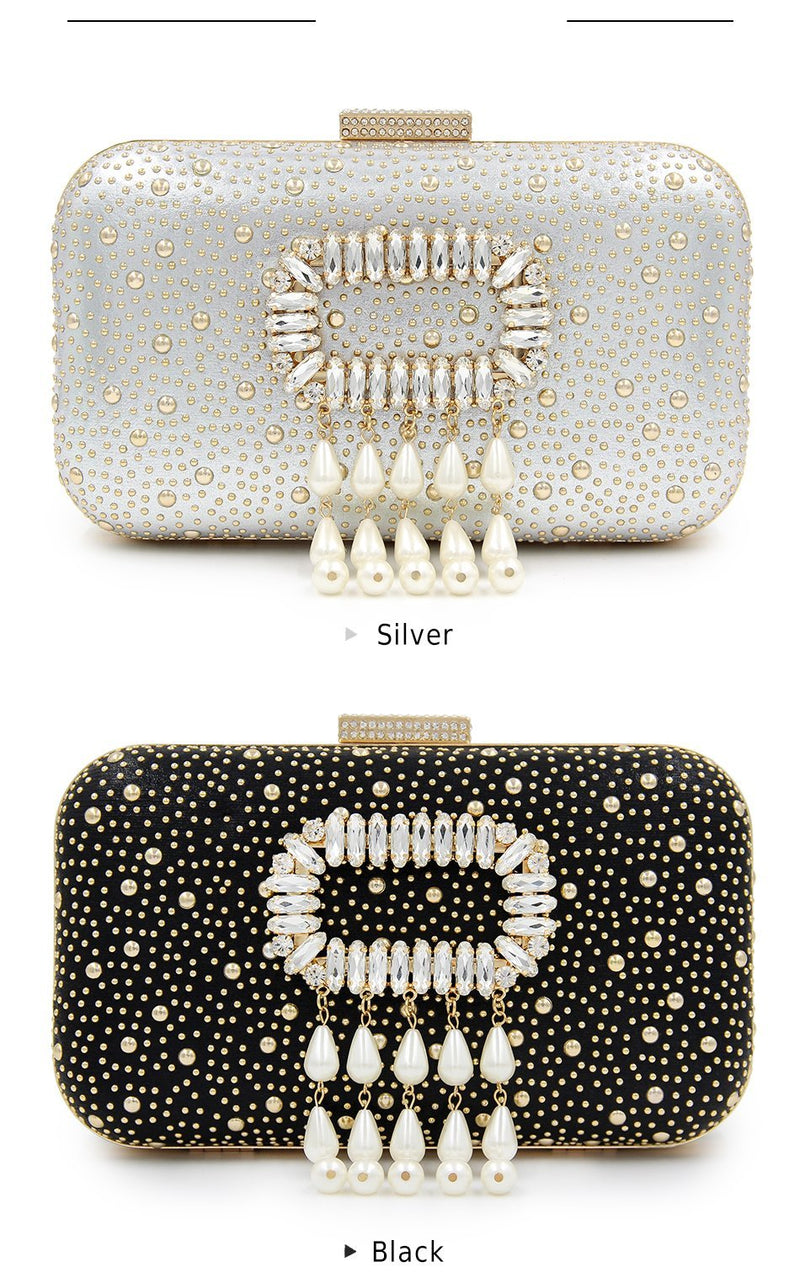 Box Pearl Beaded Clutch Evening Bag Woven Trends