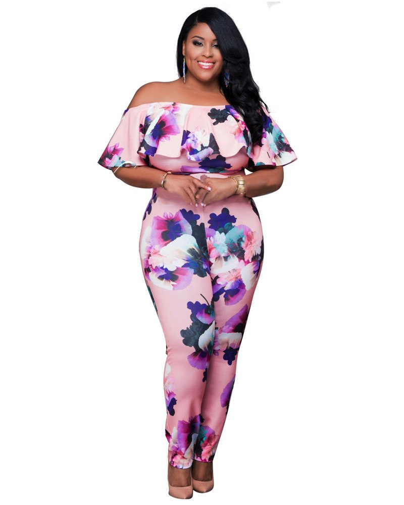 April Ruffle Flower Print Jumpsuit - Woven Trends
