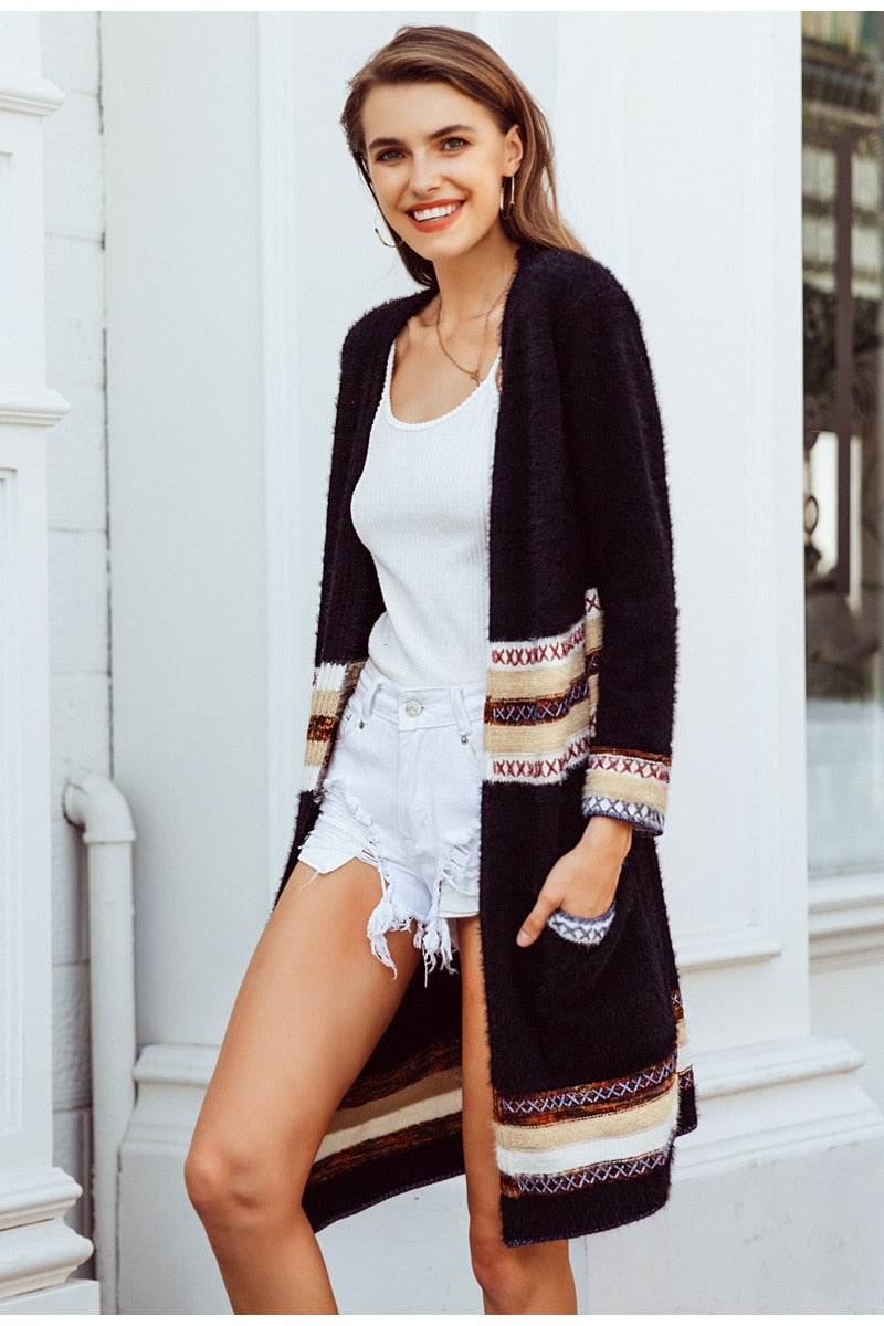 Long Sleeved Print Knit Cardigan