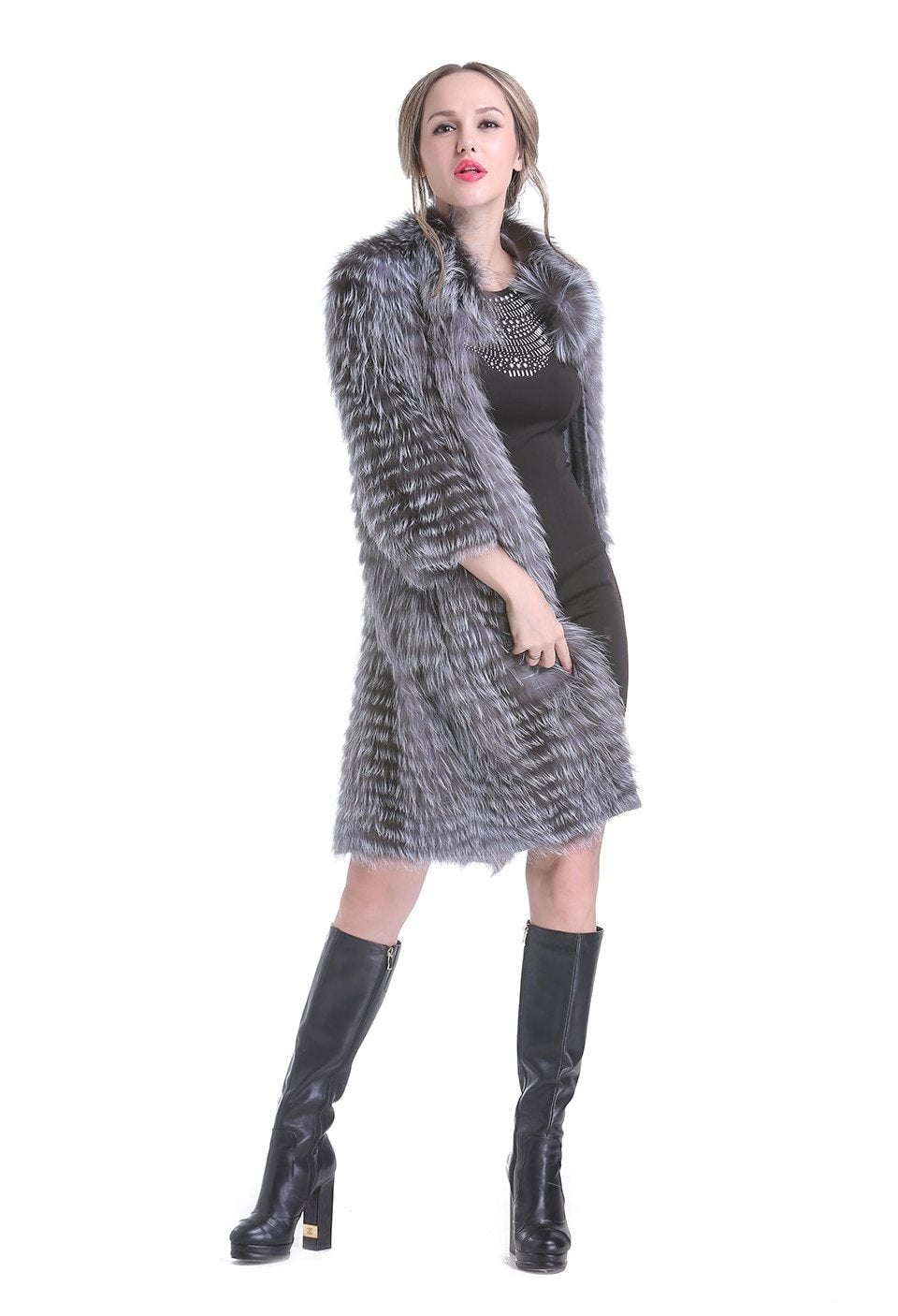 Elisa Silver Fox Fur Winter Light Coat - woven-trends