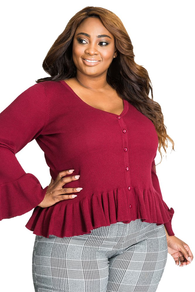 Elegant Long Sleeve Ruffle Plus Size Top Woven Trends
