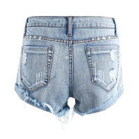 Vintage Distress Hole Fringed Denim Shorts - Short Casual Jeans Shorts Shorts - Woven Trends Fashion Collection