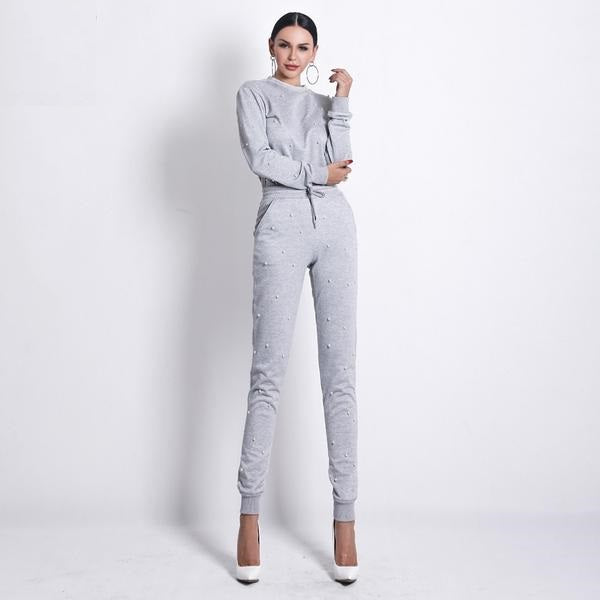 Katrina O Neck Long Sleeve 2 Piece Jumpsuit - Woven Trends