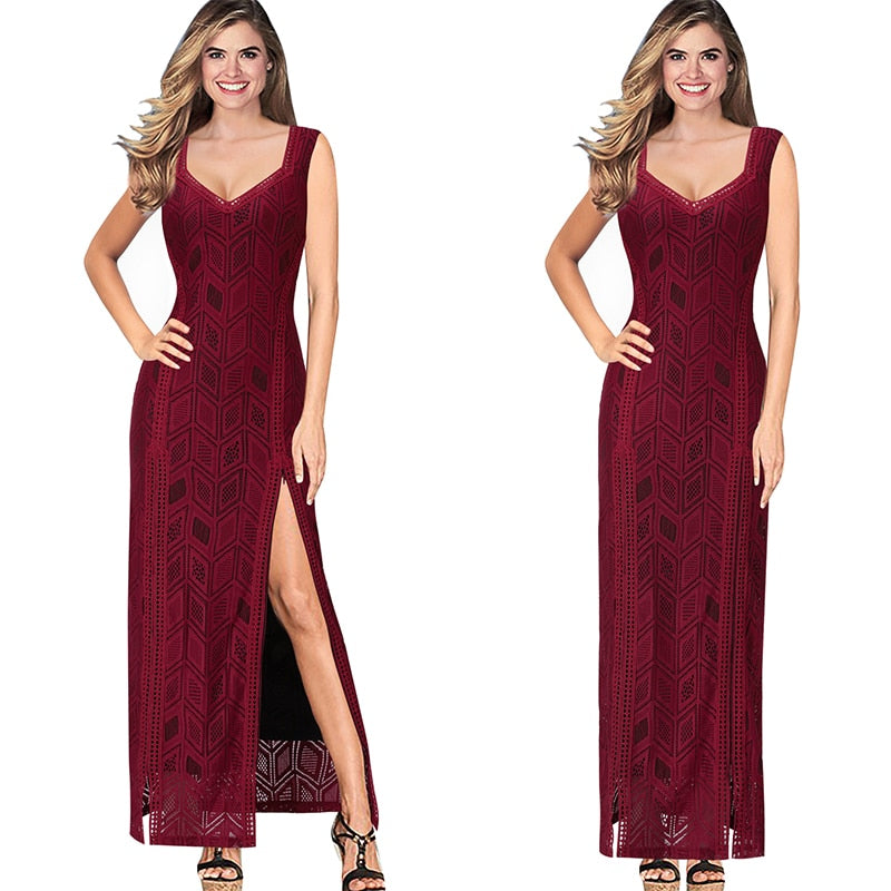 Victoria V Neck Diamond Pattern Maxi Dress