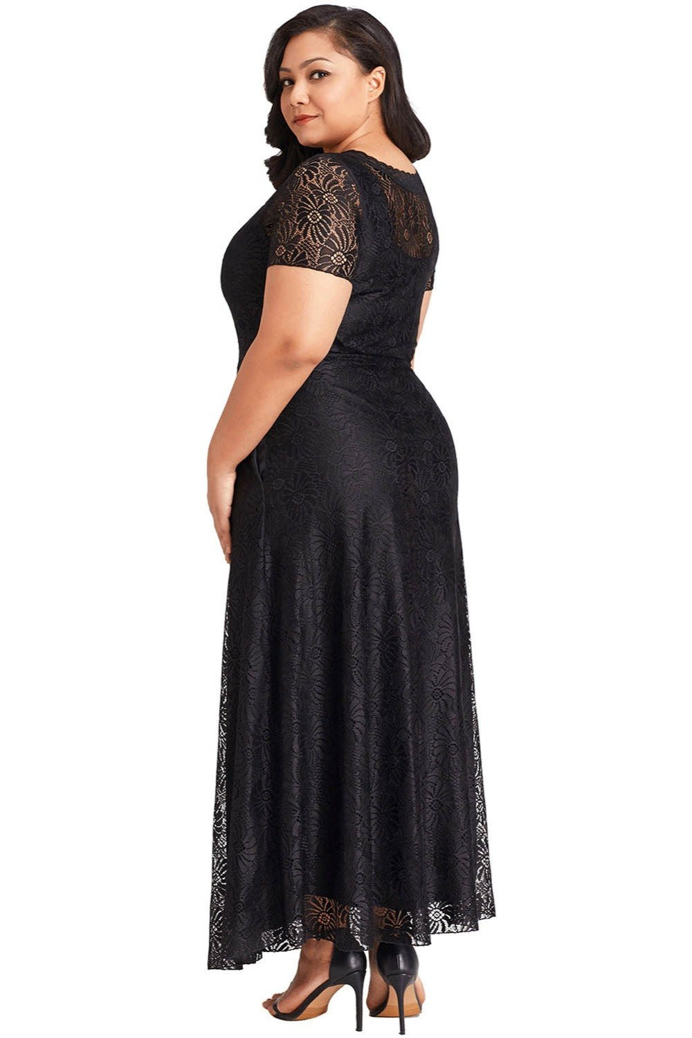 Plus Size Lace Overlay Long Maxi Gown Dress - woven-trends