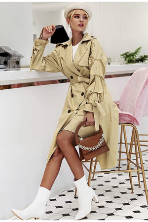 Irregular Trim Khaki Long Trench Coat Woven Trends