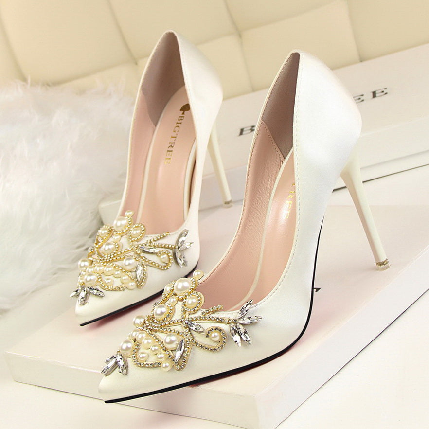 Pearl and Rhinestone Detail Slip On Stilettos