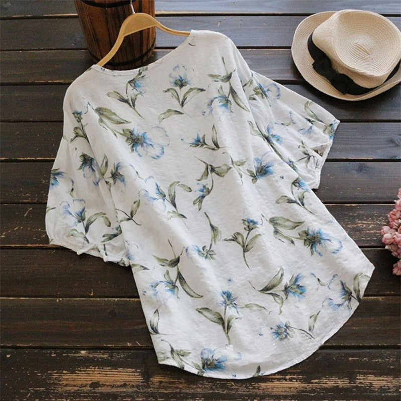 April Lantern Sleeve Floral Blouse Woven Trends