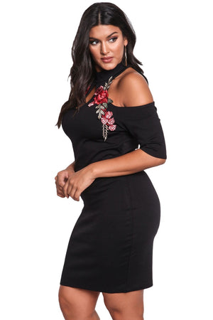 Cold Shoulder Bodycon Rose Embroidery Applique Plus Dress - woven-trends