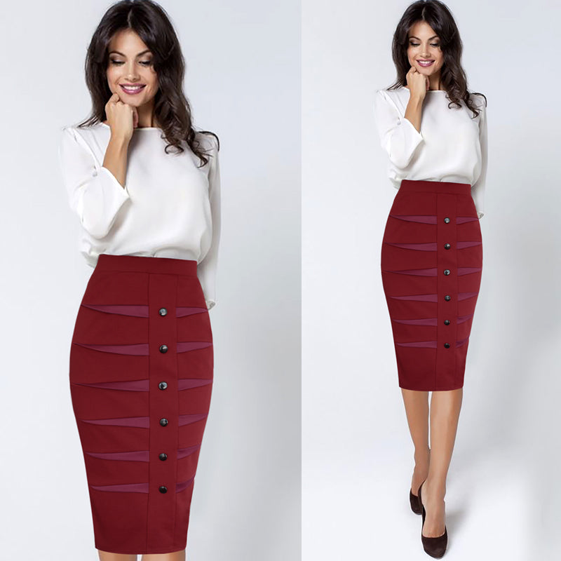 Xandra Button and Patchwork Detail Casual Pencil Skirt