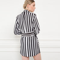 Double Breasted Turn Down Collar Striped Mini Trench Coat Woven Trends