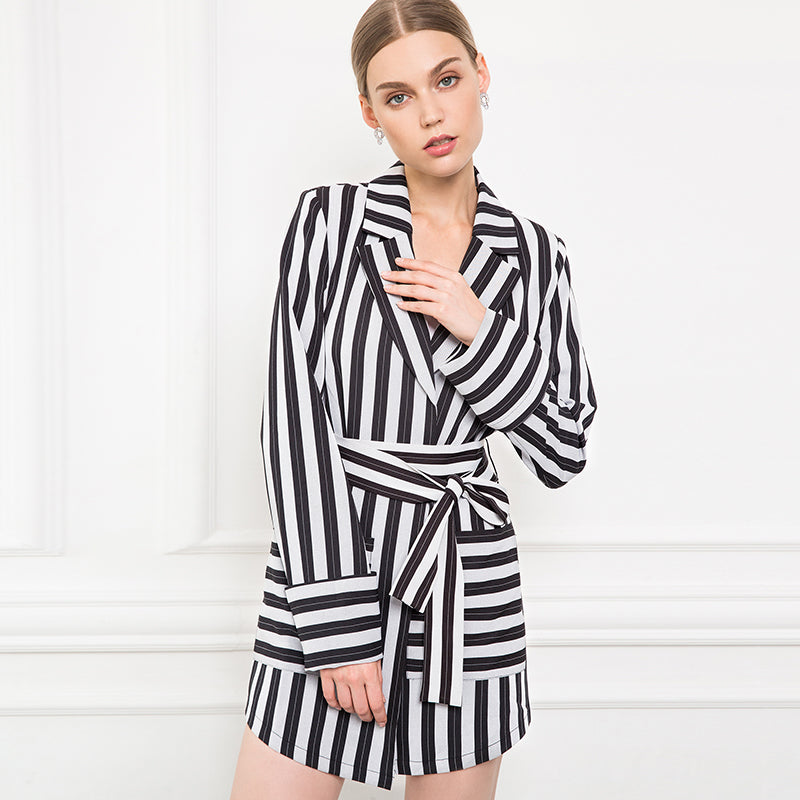 Double Breasted Turn Down Collar Striped Mini Trench Coat - woven-trends