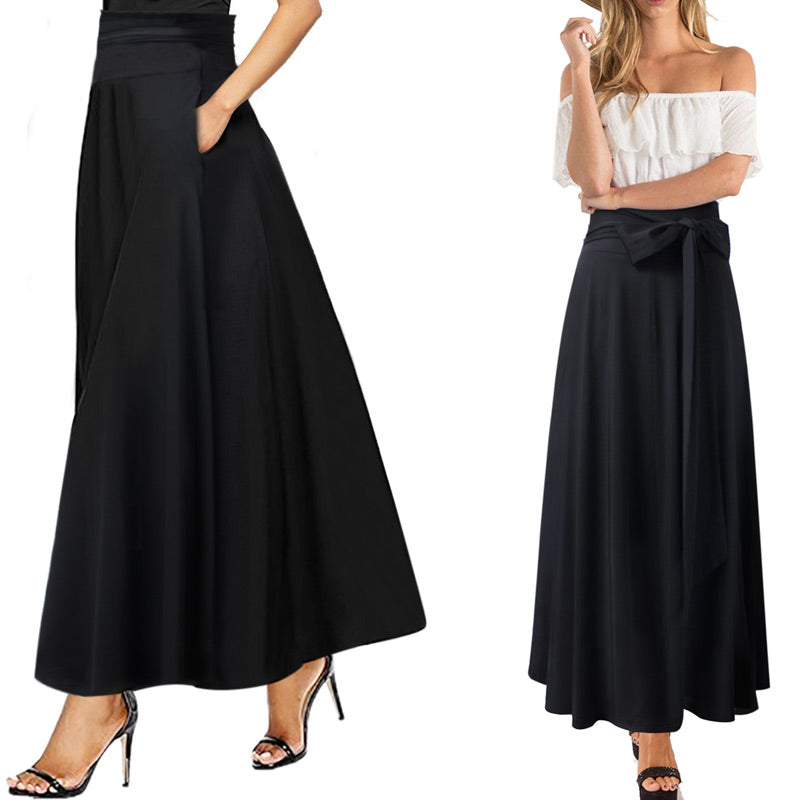 Kate High-Waist Belted Swing Maxi Skirt - woven-trends