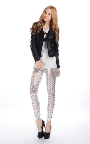 Arlene Fish Scale Detail Shiny Mermaid Leggings Woven Trends