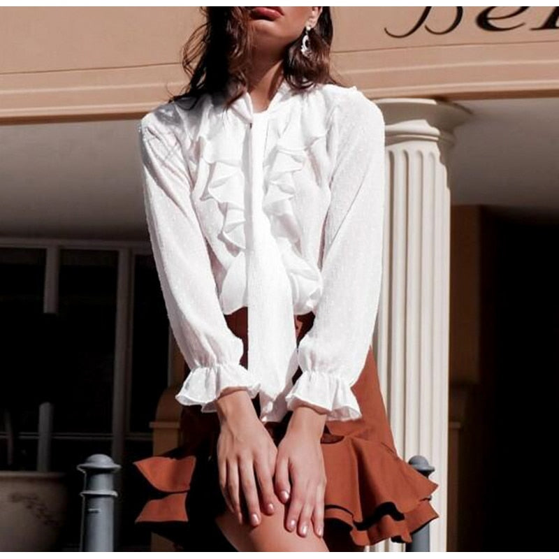 Lace Up Detail Ruffle Lantern Sleeve Blouse Top