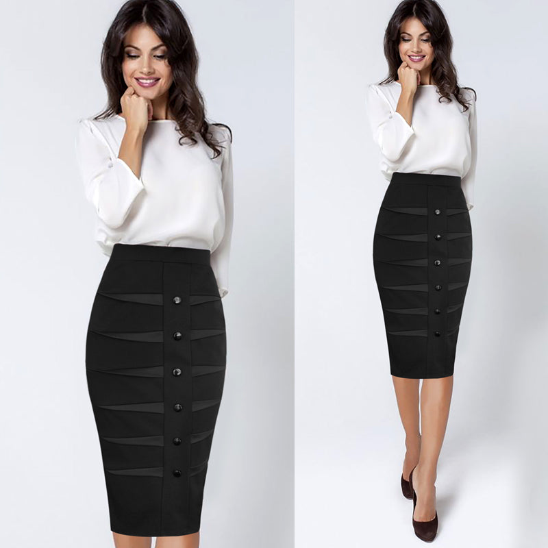 Xandra Button and Patchwork Detail Casual Pencil Skirt - woven-trends