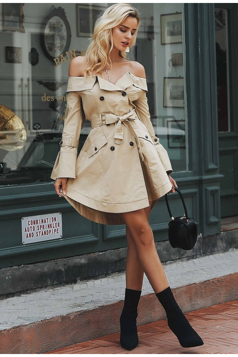 Double Breasted Crew Neck Mini Trench Coat Woven Trends