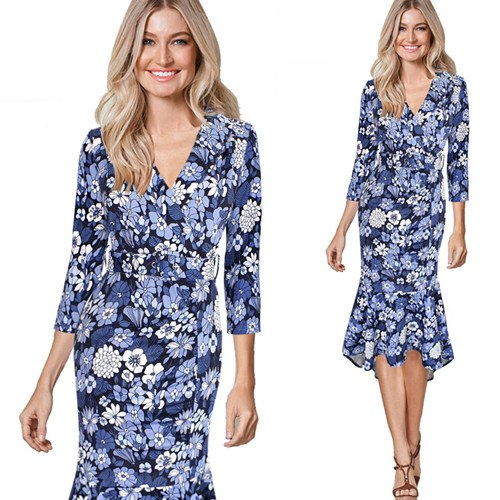 Angelika Retro Floral Print V Neck Casual Cocktail Dress